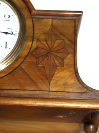 marquetry on Edwardian mantel clock
