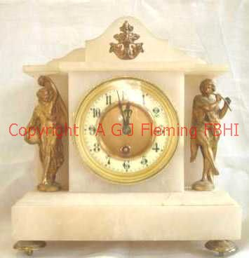 Front view of Alabaster clock with statues